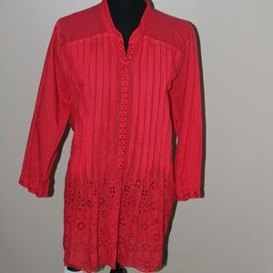 Vintage Johnny Was Coral/Pink Eyelet Lace Tunic
